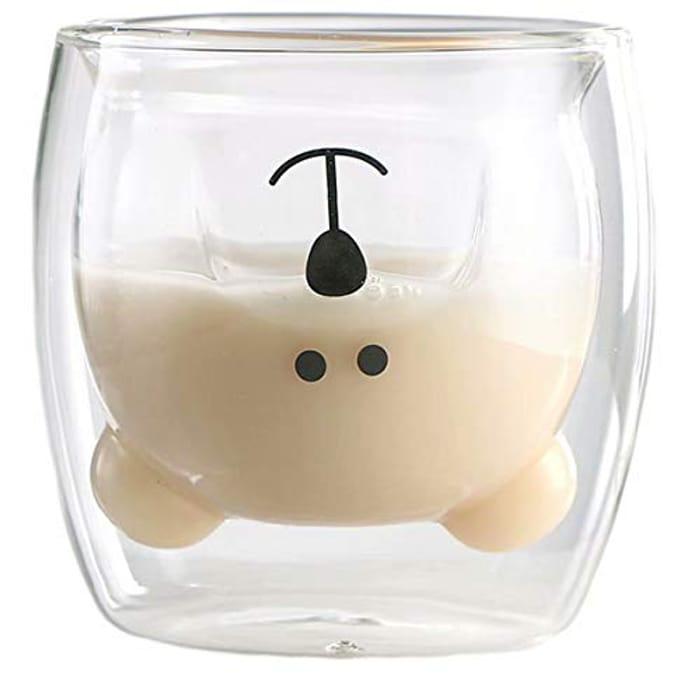 Tea Milk Cute Bear Cat Panda Espresso Cups Mugs Double-Walled Insulated Glasses