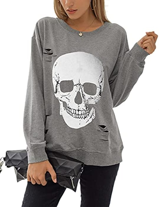Women's Skull Graphic Pullover Oversized Sweaters