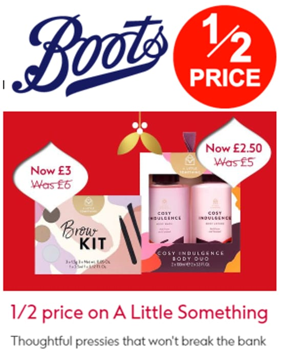 Boots - 1/2 Price Little Pressies - CHEAP GIFTS FOR CHRISTMAS!
