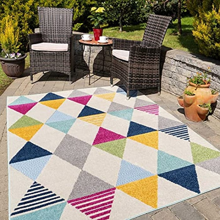 Multicoloured Geometric Outdoor Washable Soft Garden Flatweave Rug