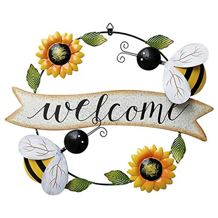 Large Metal Wall Art Sunflower and Bee Welcome Sign - Only £7.99!