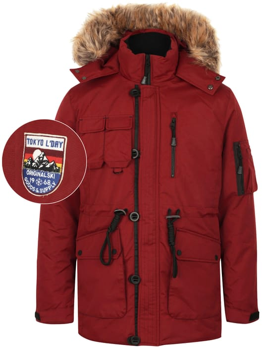 Helga Heavy Utility Parka Coat with Faux Fur Trim Hood in Cherry Red