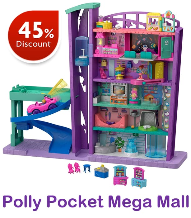 Polly Pocket Mega Mall with 6 Floors, Vehicle, Elevator and Micro Dolls
