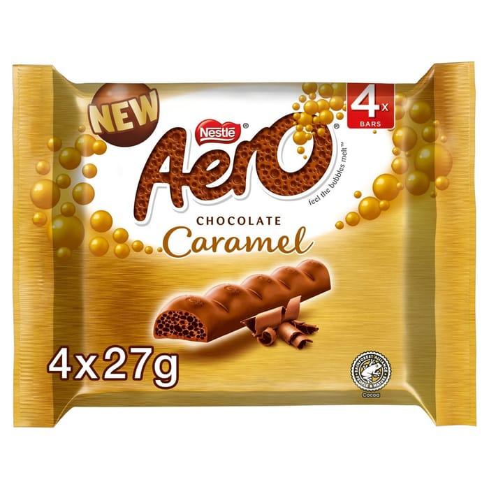 Aero Bubbly Caramel Chocolate Bars 4x27g