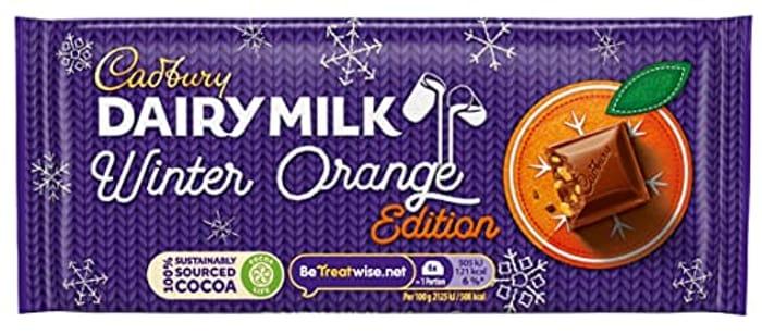 Cadbury Dairy Milk Winter Orange Edition Chocolate Bar, 95 G