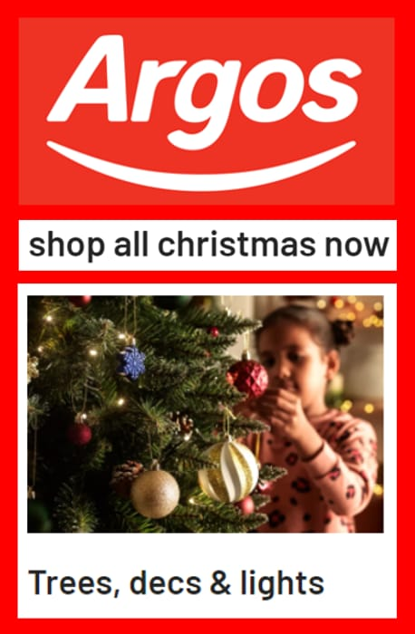 ARGOS - Shop All Christmas Now! Trees, Decorations, Lights...