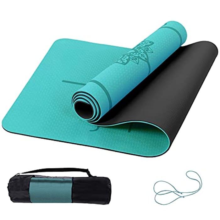 Marjar Yoga Mat Non Slip Exercise Mat with Alignment Marks