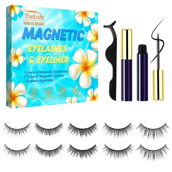 EYEKESHE 5 Pairs Magnetic Eyelashes with Eyeliner