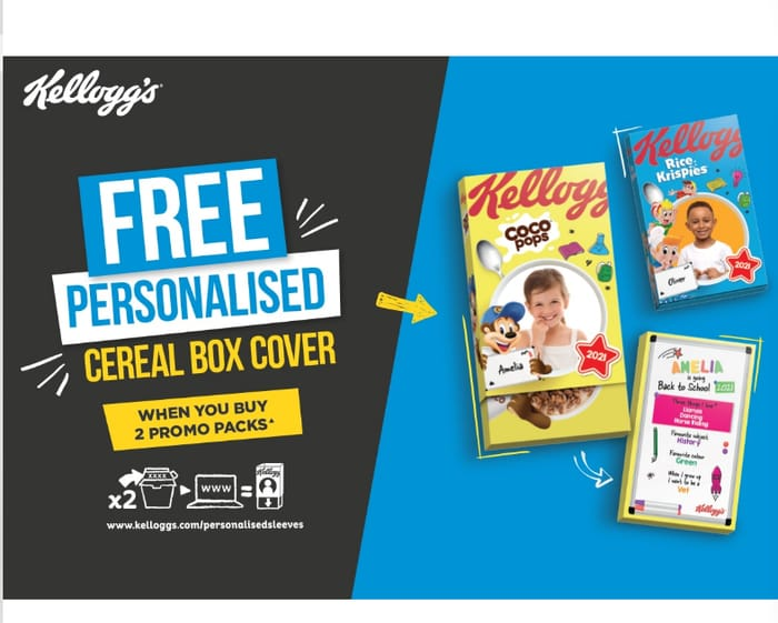 Free Kellogg's Personalised Cereal Box Cover *Just Buy 2 Promotional Packs