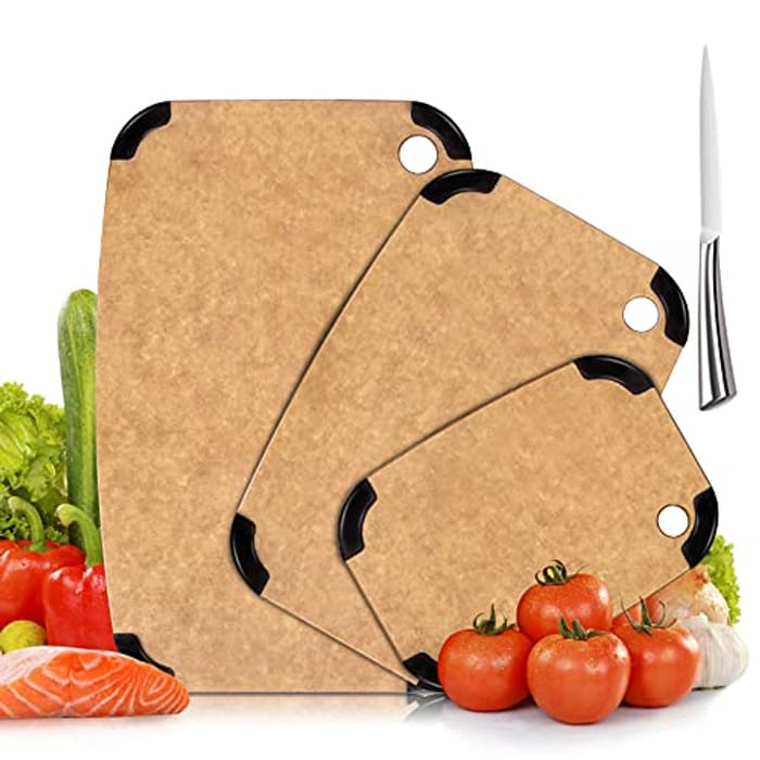 3 Multi Size Dual-Sided Chopping Boards, 1pc Knife