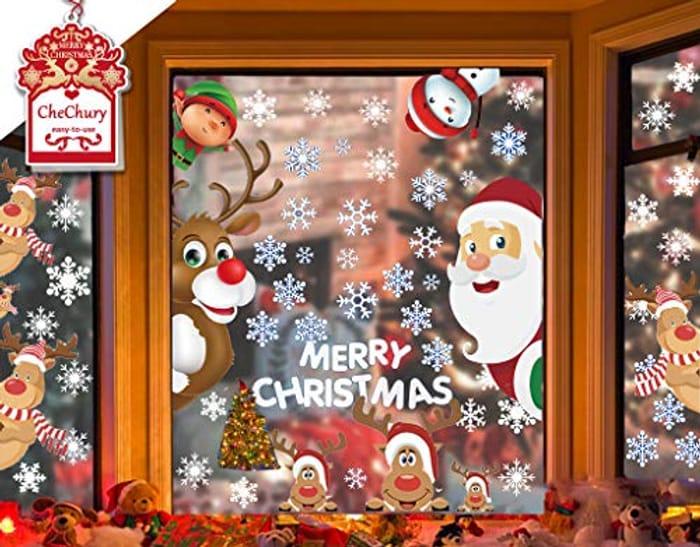 Christmas Window Stickers - Peeping Santa, Rudolph, Elf and Reindeer