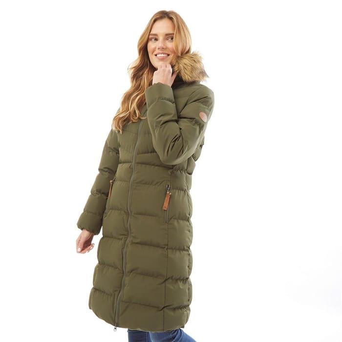 *SAVE £90* Trespass Womens Audrey Waterproof Padded Hooded Long Jacket Dark Vine