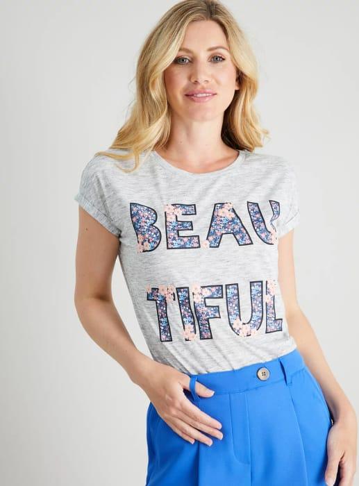 Grey Space Dye 'Beautiful' T-Shirt