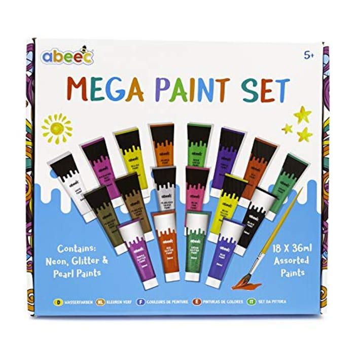 CHEAP! Mega Watercolour Paint Set (18 Colours Inc Glitter, Neon & Pearl Paints)