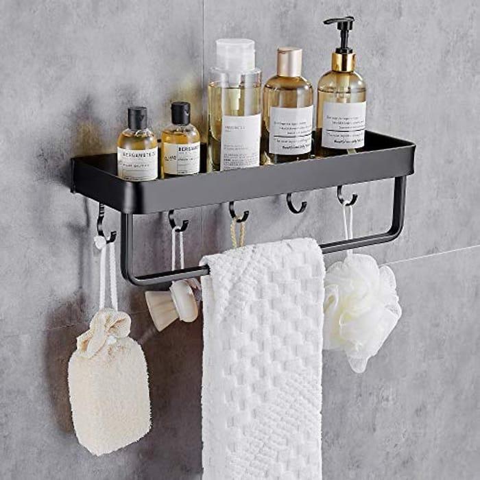 TRUSTLIFE Shower Caddy Bathroom Shelf, Matte Black - Only £4.94!