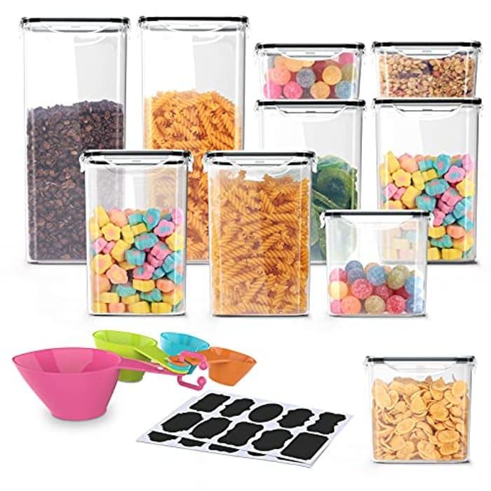10 Piece - Kitchen Storage Plastic Containers Air Tight Lock-BPA Free