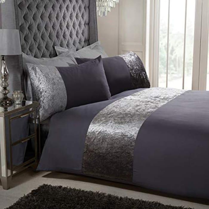 Sleepdown Velvet Cuff Charcoal Grey Panel Duvet