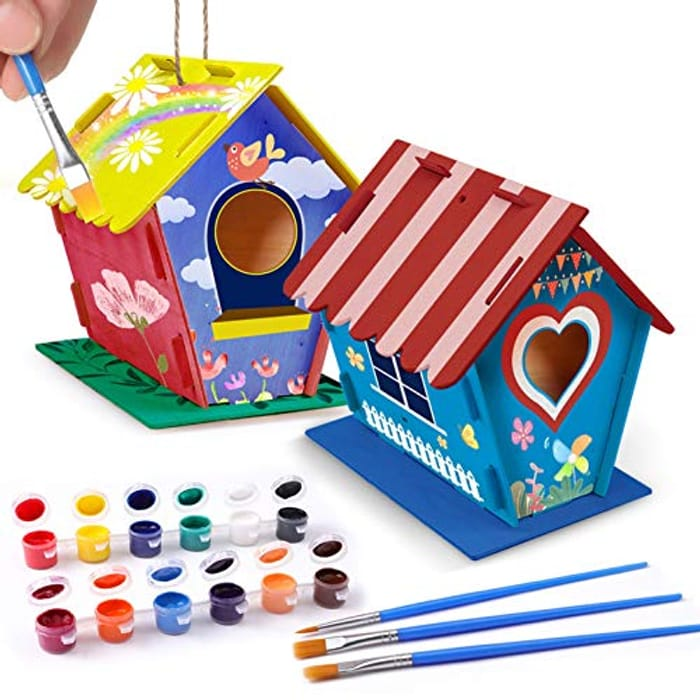 2 Packs of Wooden Bird Houses with Paints and Brushes
