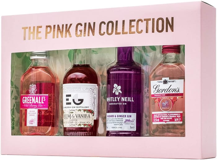 The Pink Gin Collection   Gin Gift Set 4 X 5cl Miniatures