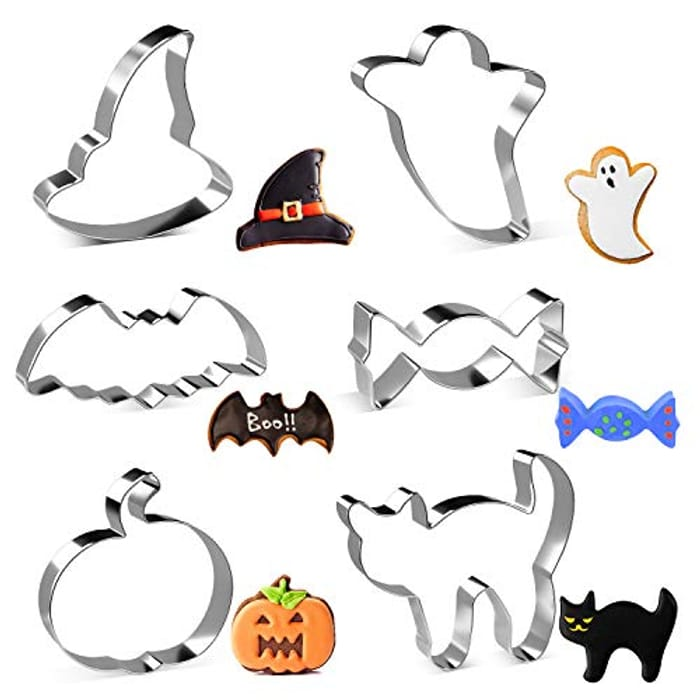 6 Pc Cookie Cutter Pumpkin, Bat, Ghost, Cat, Witch Hat, Candy - Stainless Steel