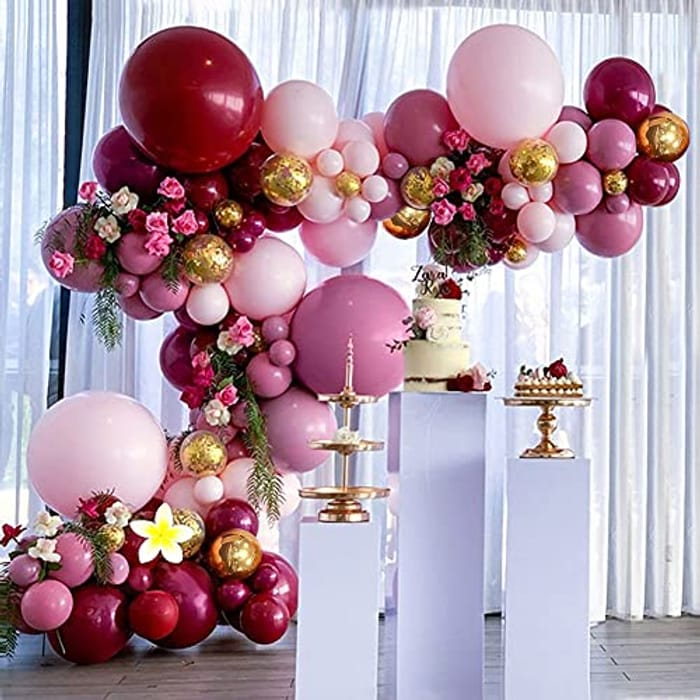 DEAL STACK - TOLOYE Burgundy Balloons Arch Kit + 20% Coupon