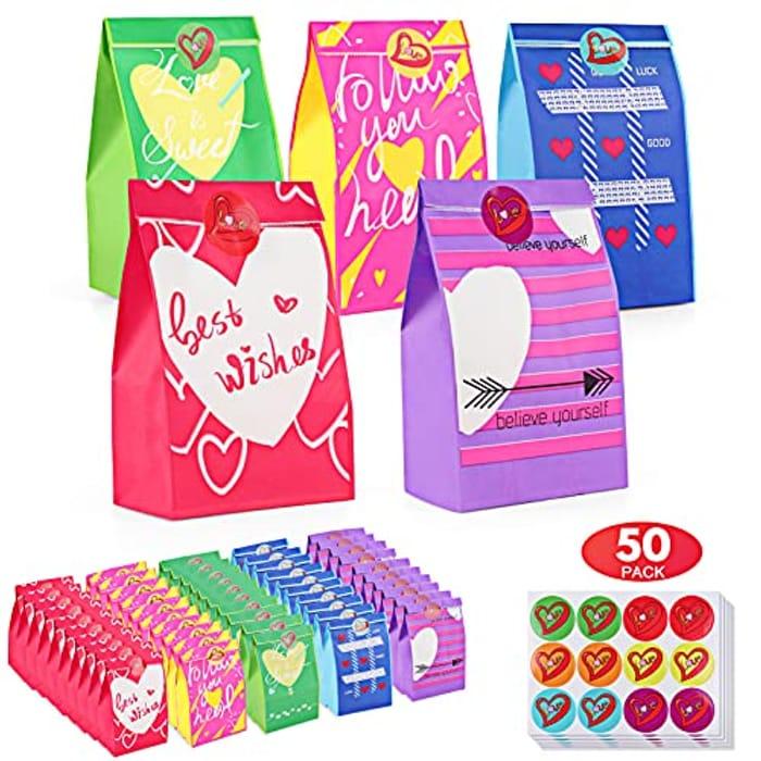 TOOELMON 50pcs Treat Bags + 60pcs Stickers
