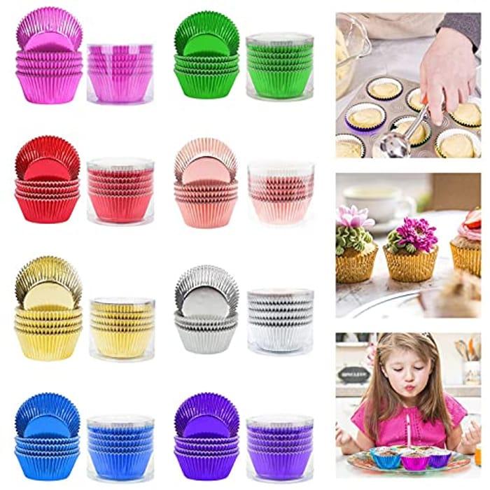 100pcs Reusable Aluminium Cupcake Moulds