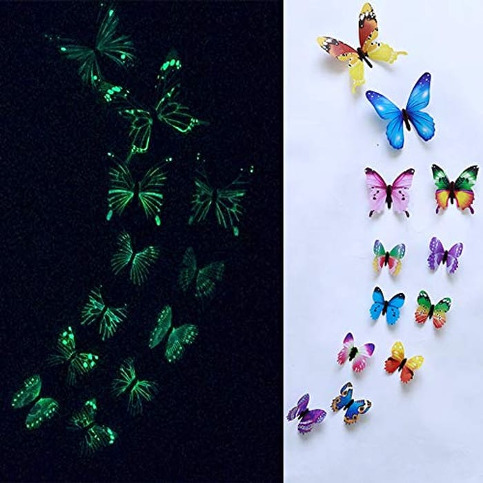 12pcs Glow in the Dark Butterfly Wall Stickers