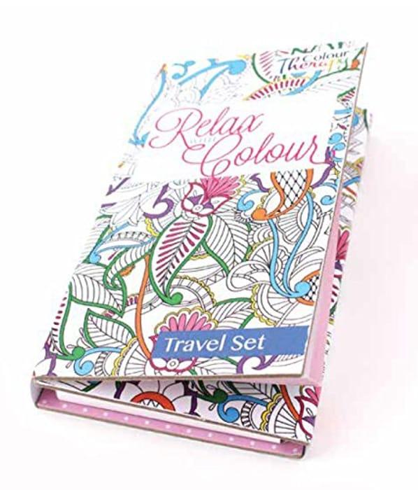 Colour Therapy Travel Kit Inc 2 Colouring Books & Multicoloured Pencils