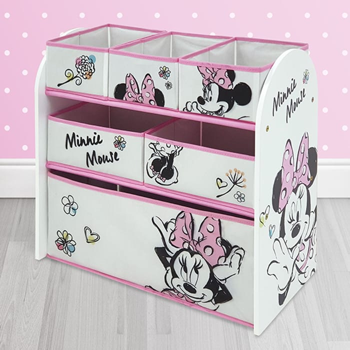 Disney Minnie Mouse Classic Wooden Toy Organiser with 6 Storage Bins