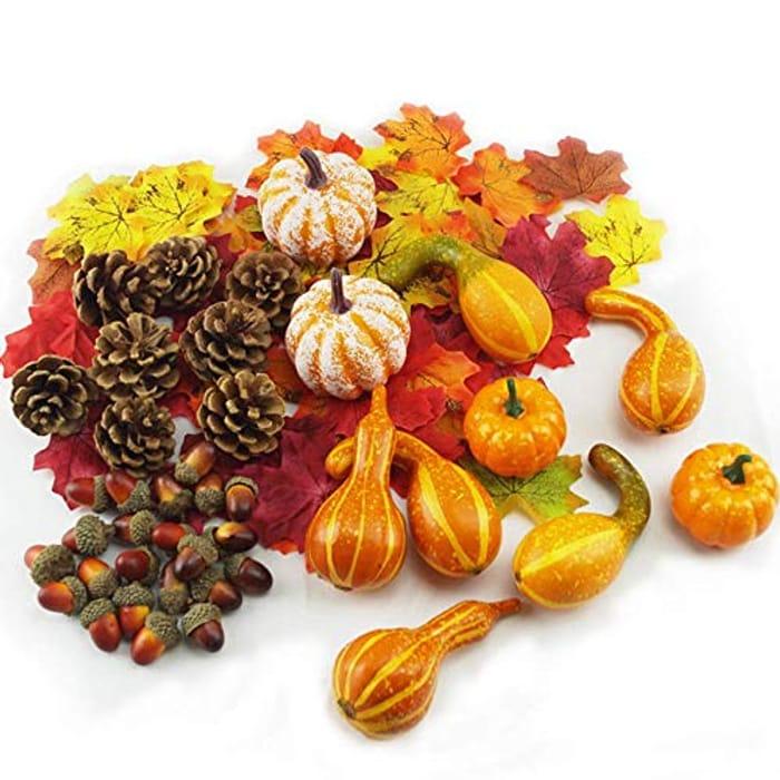 DUTISON Halloween Decorations Pumpkins Set, Artificial Pumpkins