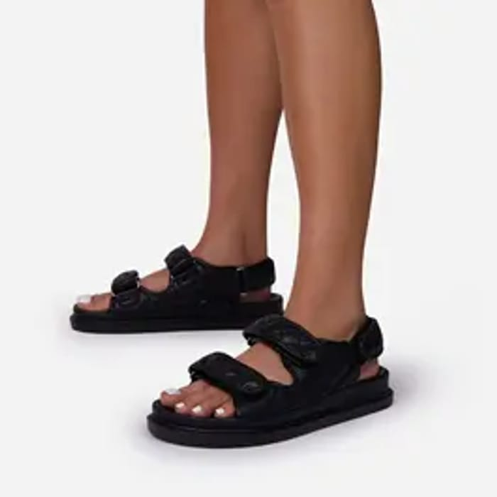 Best Price! Hyped Quilted Double Strap Flat Dad Sandal in Black Faux Leather
