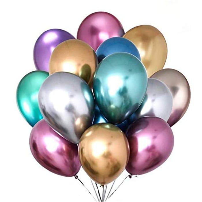 GRESAHOM 50 Pcs Metallic Balloons