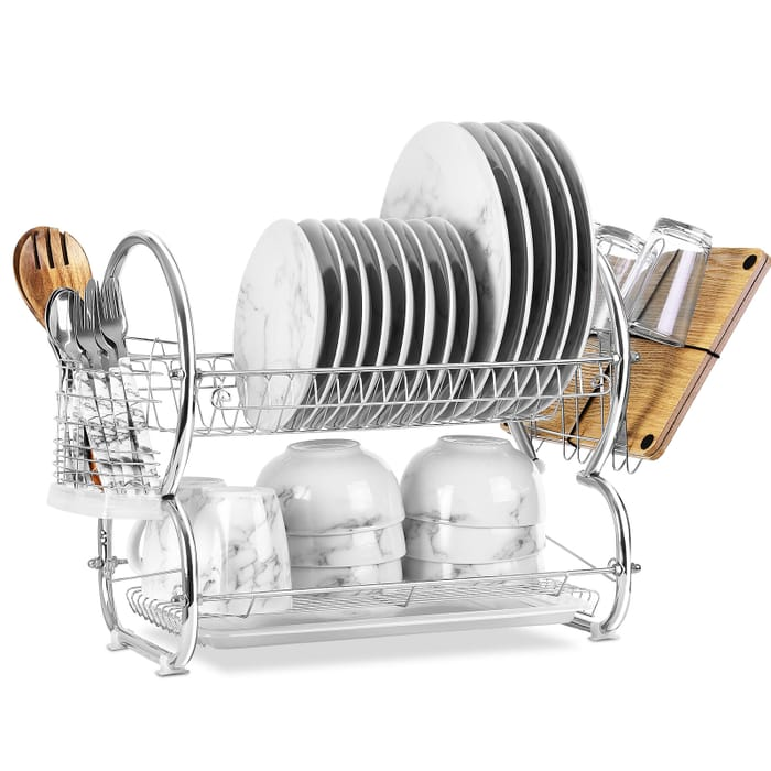 Save 53% - 2 Tier Draining Rack In Silver Or Red - £12.25 Delivered