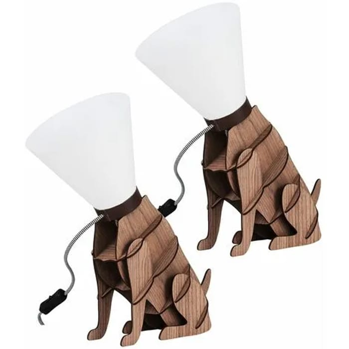 MiniSun - 2 X - Wooden Brown Dog on Lead Table Lamps