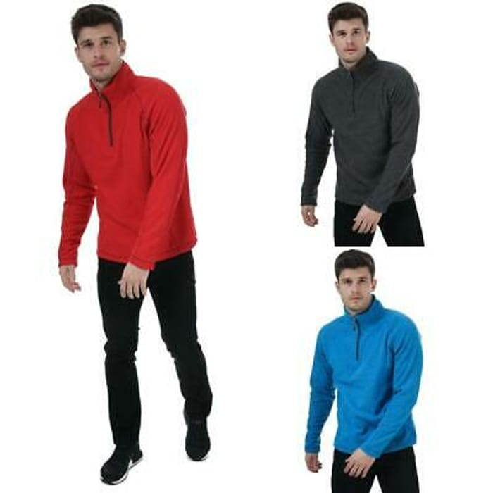 Best Price! Zip Pullover Fleece in Red, Blue, and Grey at ebay