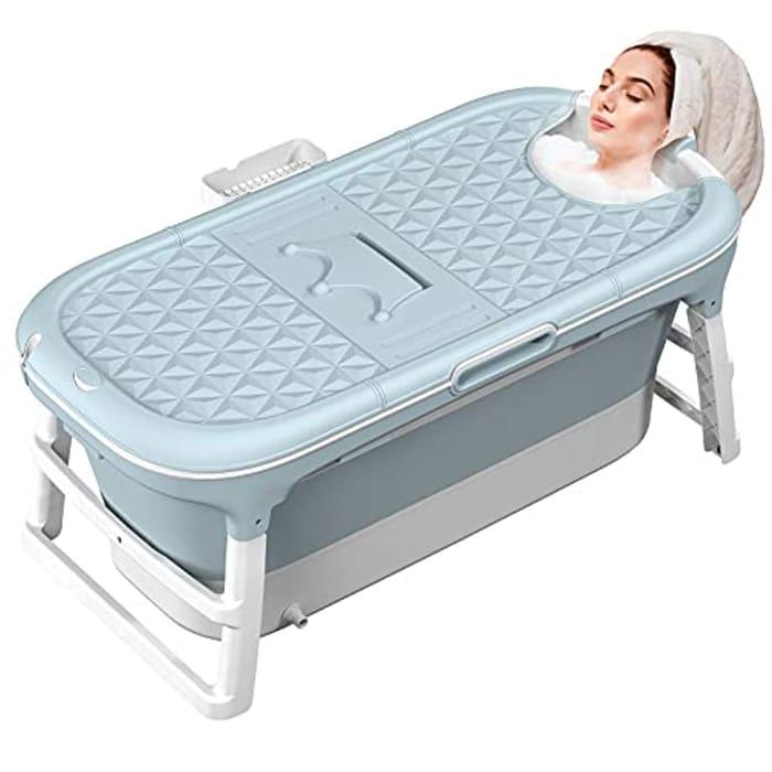 MCGMITT Adult Folding Bathtub, 128X62X52cm Large Portable Foldable Bathtub
