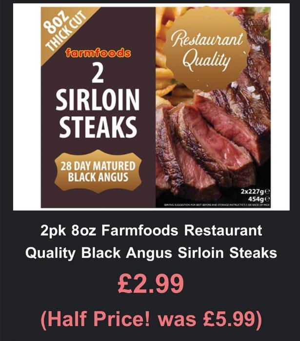 2 Pack of 8oz Restaurant Quality Black Angus Sirloin Steaks