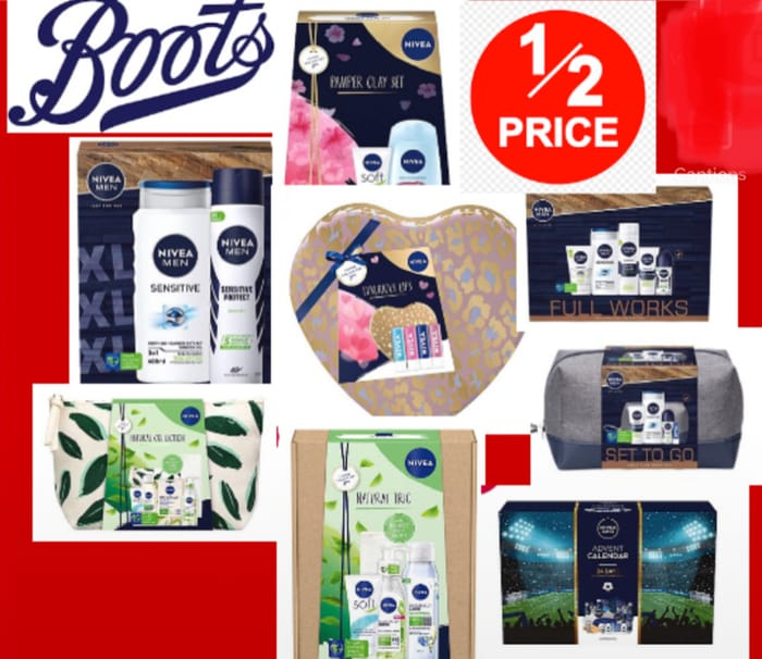 Save up to 1/2 Price on Selected Nivea Gift Price from £3 to £12