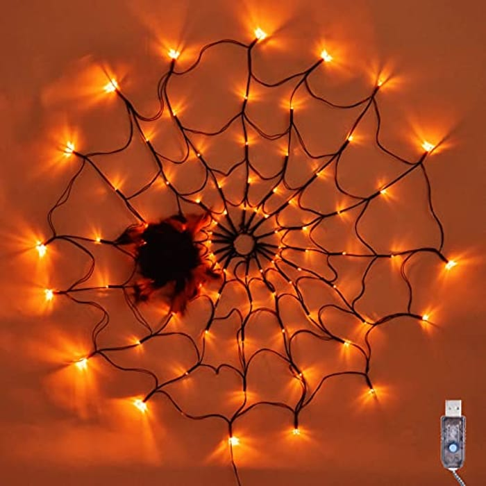 SPRKLINLIN USB Powered Halloween Spider Web Lights, 80 LED 2.62FT