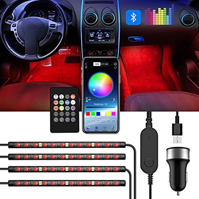 DEAL STACK - Interior Car LED Strip Light, 5V USB Port Car Charger + 10% Coupon