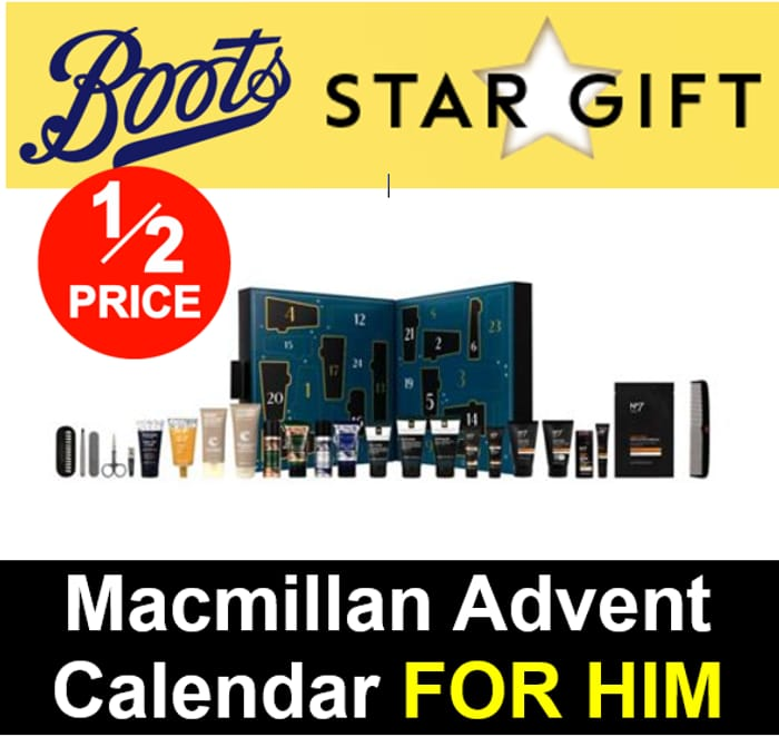 Boots Star Gift - 1/2 Price on Macmillan Advent Calendar - FOR HIM - Online Only