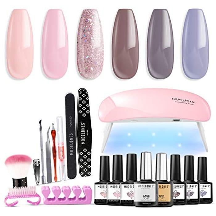 Modelones Gel Nail Polish Kit with U v Light 6W Mini Lamp, 6 Colors Gel