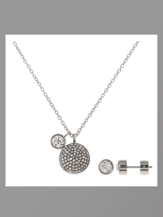 Best Price! MICHAEL KORS Silver Tone Necklace & Stud Earrings