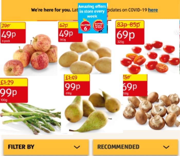 Aldi/Super6 Pears,Asparagus,99p,Mushrooms,Tomatoes 69p,Mini Apples,Potatoes From