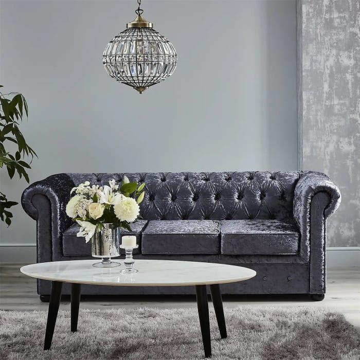 *SAVE £100* Chesterfield Velvet 3 Seater Sofa - Petrol Blue