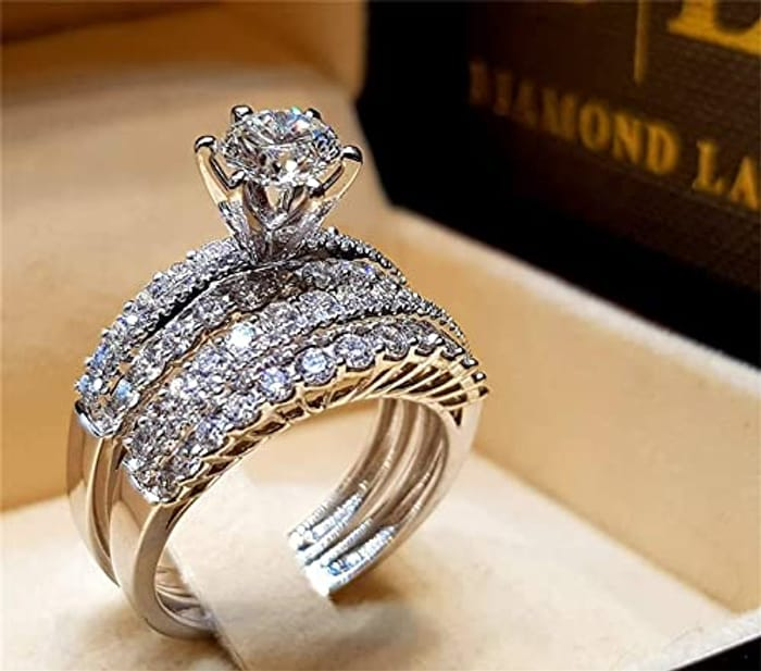 White Cubic Zirconia Couple Ring Set - Only £4.49!