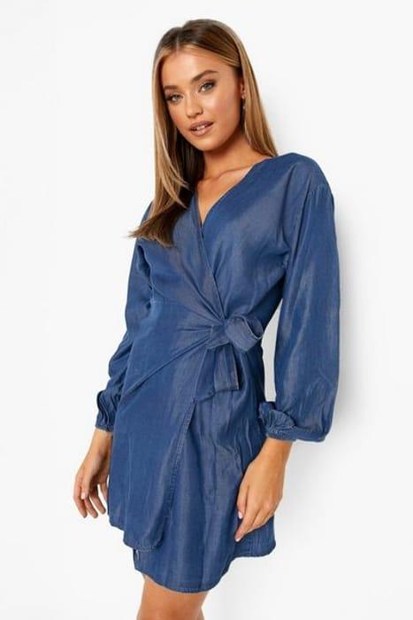 Boohoo Wrap Denim Dress
