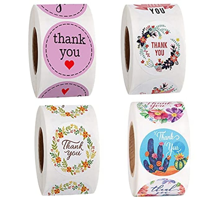 2000pcs (4 Rolls) Thank You Stickers