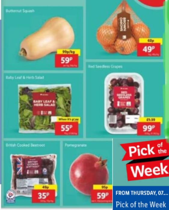 LIDL Deal:Onion,Butternut Squash,Leaf Salad,Red Grapes,Beetroot,Pomegranate,From
